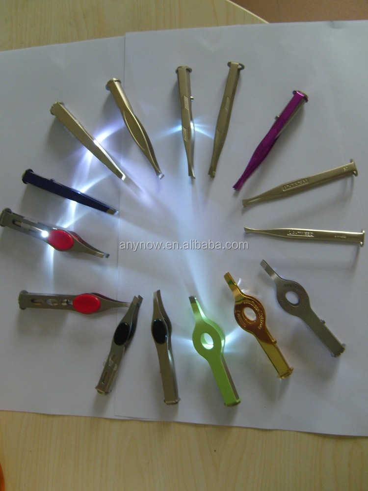 Various Shapes Stainless Steel LED Eyebrow Tweezer