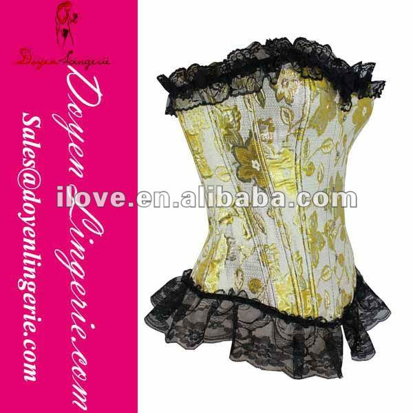 Sexy Western Lace Bustier Top Yellow Wholesale And Retail with T-thong