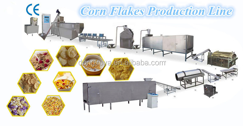 Automatic corn flakes breakfast cereal /corn flakes machine extruder