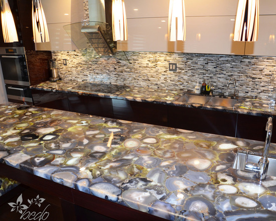 Natural Semi-precious agate countertop