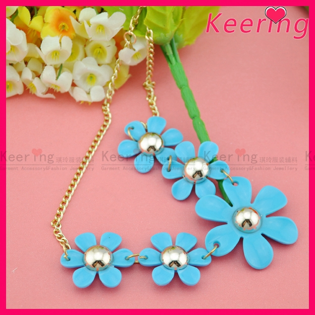 handmade acrylic fashion statement blue necklace WNK-232