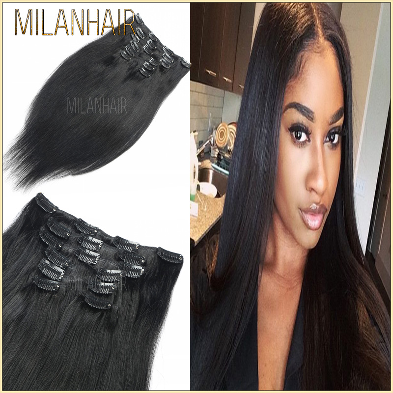 Real Human Hair Full Head Clip In Remy Straight Hair Extensions Full Head