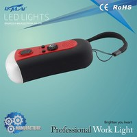 ABS plastic body crank rechargeable led emergency flashlight