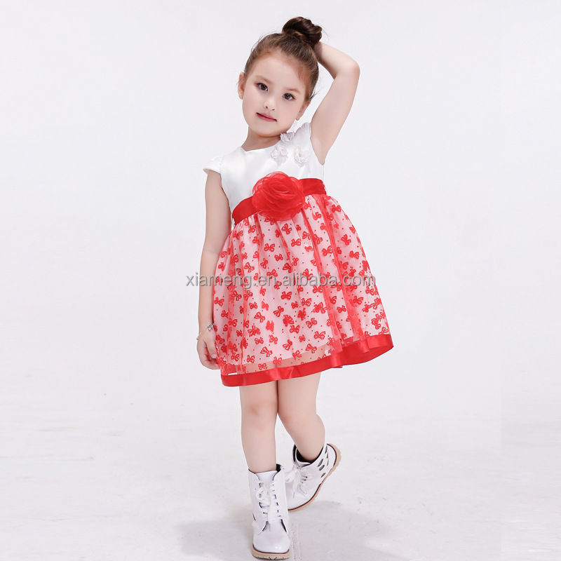 latest dress for girls 2 year old sleeveless girl dress flower pattern