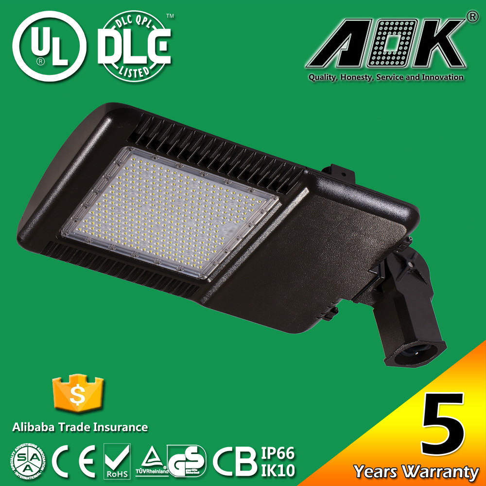 UL DLC FCC Optimized Easy Install Slip Fitter Mounted Edge Direct Arm Outdoor Parking Area LED Shoebox Light