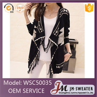 Fashion long sleeve thin knitted pattern open front black women cardigan poncho