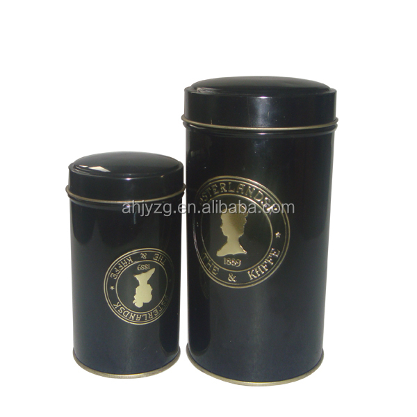 chinese black small metal round tea tin box