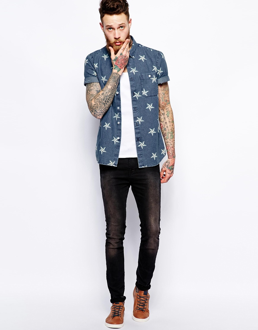 Shirt in short sleeve with star print cotton fabric mens for Dress shirts for short men