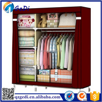 Portable Double Red Color Wardrobe Design Furniture Bedroom