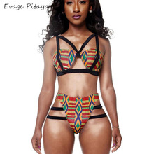 Hot sale in African New Designs Digital printing bandage high waisted swimsuit
