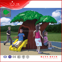 2016 Hot Quality Kids Plastic Plastic House Tree Shaped Playhouse with Slide for Sale