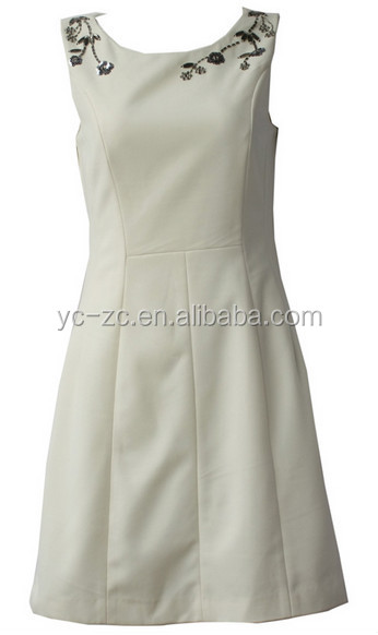 OEM service garment manufacturer women skirts white dress ladies simple design party dress