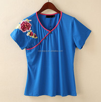 2014 custom made embroidery ladies unique style short sleeve top t shirt three button with embroidery logo