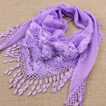 Women Cotton Plain Hijab Shawl lace scarves fashion romantic wedding wear muslim scarf long size