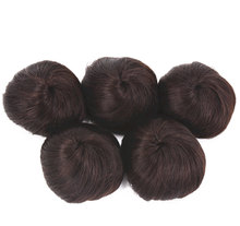 Natural color donut human hair bun chignon