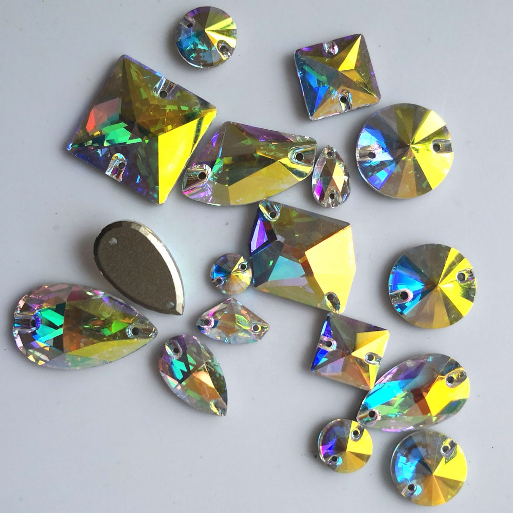 Yanruo AB Color Glass <strong>Crystal</strong> Sew On Rhinestone <strong>Crystal</strong> Flat Back Rhinestone For Dresses