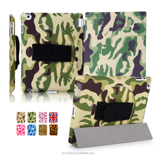 Multicolor Camouflage Wood PU Flip Cover for Apple 2/3/4 Tablet for iPad 2/3/4