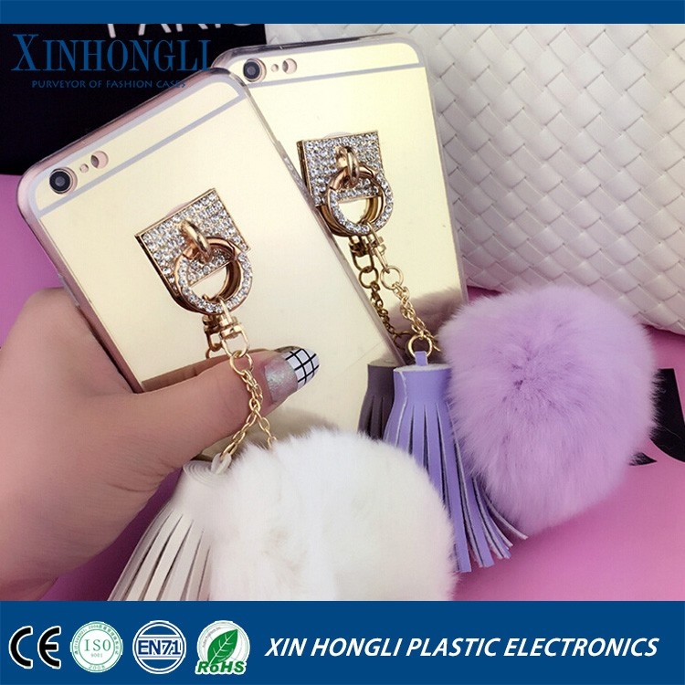 Fashionable Luxury Phone Cases Cover for iphone 6 6s 6plus fur and ring stand