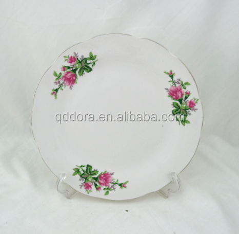 Ceramic white plate with flowers,plain ceramic plate,custom ceramic plates and dishesplate with snowflake pattern,