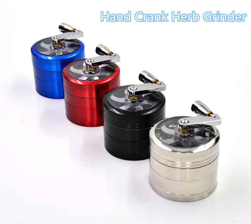 Energy Saving Hand Crank Herb Grinder Machine 55mm with 4 Layers Metal Herb Grinders Black Blue Red SS Free Shipping