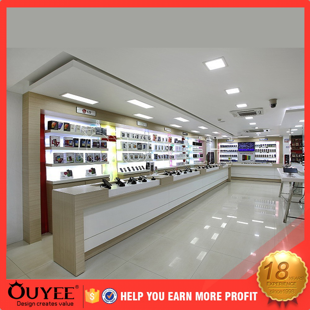 ouyee 185 furniture design for customer specific mobile phone shop interior design cell phone accessories kiosk