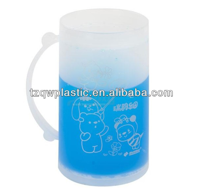 Eco friendly 100% PP Plastic Frosty mug Ice mug with handle