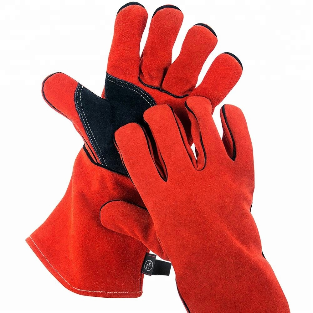 Red Cow Split Working <strong>Gloves</strong> Double Palm Heat Resistant Welding Safety <strong>Gloves</strong> with fire lane