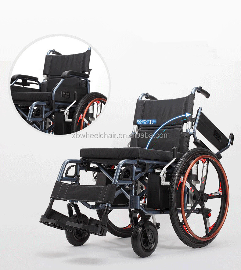 Aluminium alloy folding lithium battery power electric wheelchair in good price