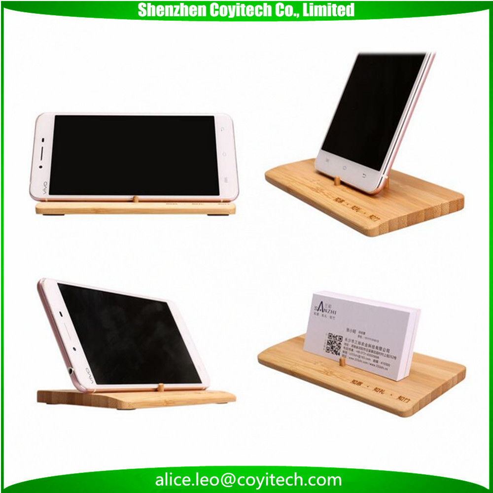 Bamboo funny cell phone holder for desk simple design business card mount