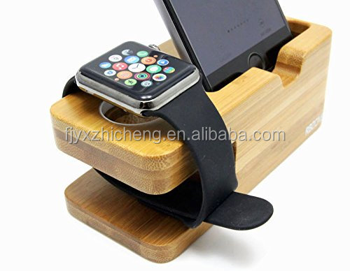 100% Natural Bamboo Wood Charging Stand Bracket Docking Station
