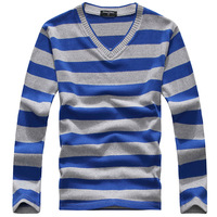 2015 Men's casual V-neck T-shirt men high-quality long-sleeved striped T-shirt men's t shirts 12 color free shipping TXHYV0016