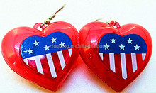 USA independence day heart shaped flashing led earring