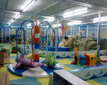 indoor playground equipment with jungle series kids slide mushroom ball pool car game for children