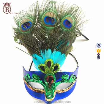 Mardi Gras Peacock Feather Mask Green Sequins Venetian Masks Wholesale
