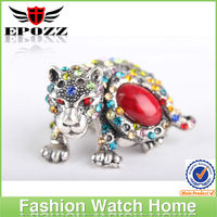 2014 Cheap fantastic design of ring finger watch with brave leopard shape colorful diamond ring watch for wholesale