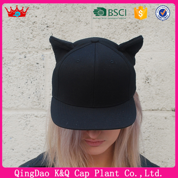 China factory custom cotton black color cat ears snapback hat