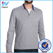 Yihao 2015 latest polo shirt designs for men zip neck long sleeve cotton men sports gym polo t-shirt
