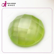 AAA quality apple green glamour cz round shape flat back cubic zirconia Briolette gemstones