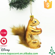 China supplier wholosale blown glass squirrel drinking coconut juice ornaments xmas tree decorations