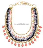 2014 Fashion Hot Sale Classical New York Style Pendant Link Chain Beads Necklace