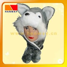 fashion winter grey with white opening trooper with fake fur and fleece lining,two round ears