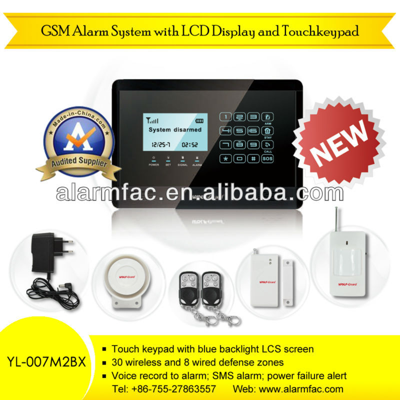 Home alarm kit GSM Touch keypad burglary alert systems with motion detector