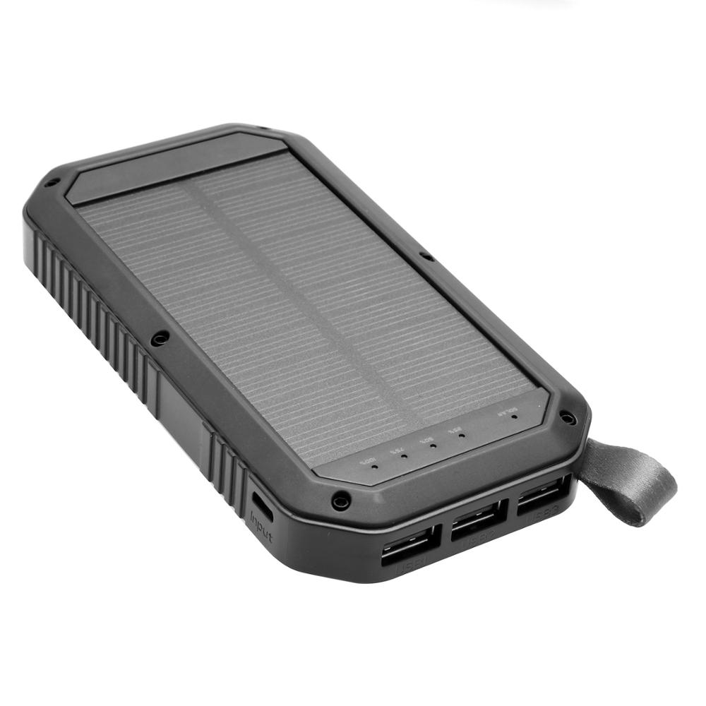 High capacity ABS 3 USB port LED polymer solar power bank for outdoor sport camping