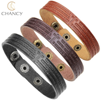 2018 hot sale latest designs bible verse cross leather bracelets for men and women Christian
