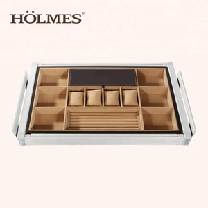 Popular pull out wardrobe Jewelry Tray with soft closing slide