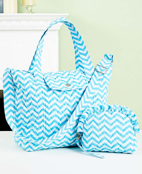 Large Quilted Women Tote Bag Chevron Pattern with Cosmetic Bag