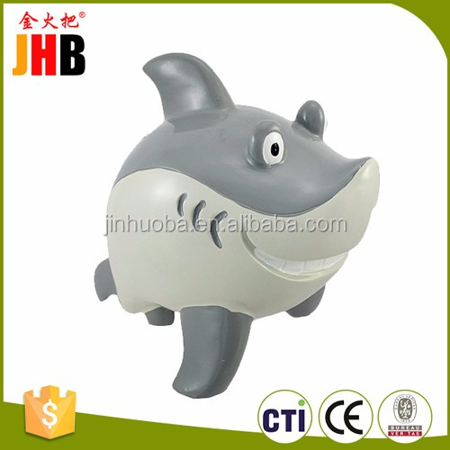 Custom Resin Smirking Shark Coin Bank for Home Decor or Child Gifts