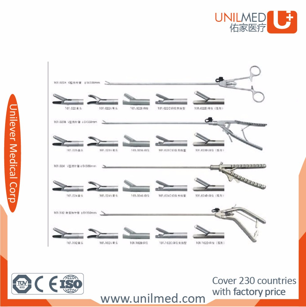 Reusable surgical laparoscopic automatic resetting mayo hegar needle holder forceps of curved, multi-fuction and straight