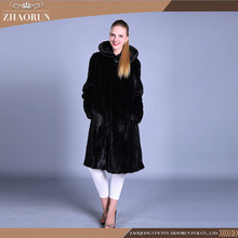 100% Real black long Mink Fur Coat With hat classic mink fur parka with hat