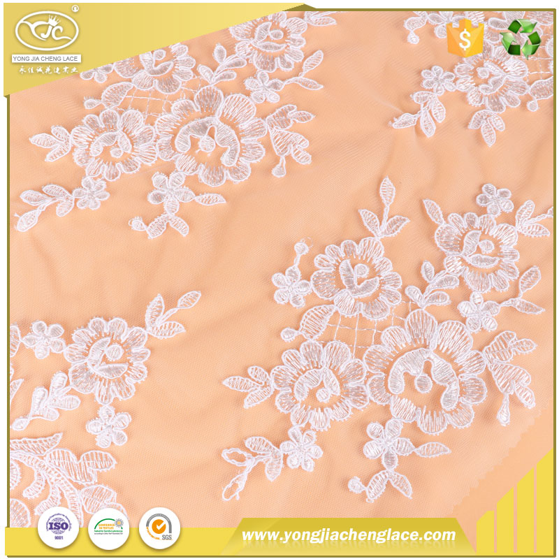 YJC wholesale african nylon swiss voile fabric embroidered beaded lace fabrics in switzerland for wedding dress
